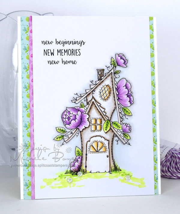 Stamping Bella SUMMER 2017 RELEASE- RUBBER STAMP : TINY TOWNIE fairy garden house Card by Michele Boyer