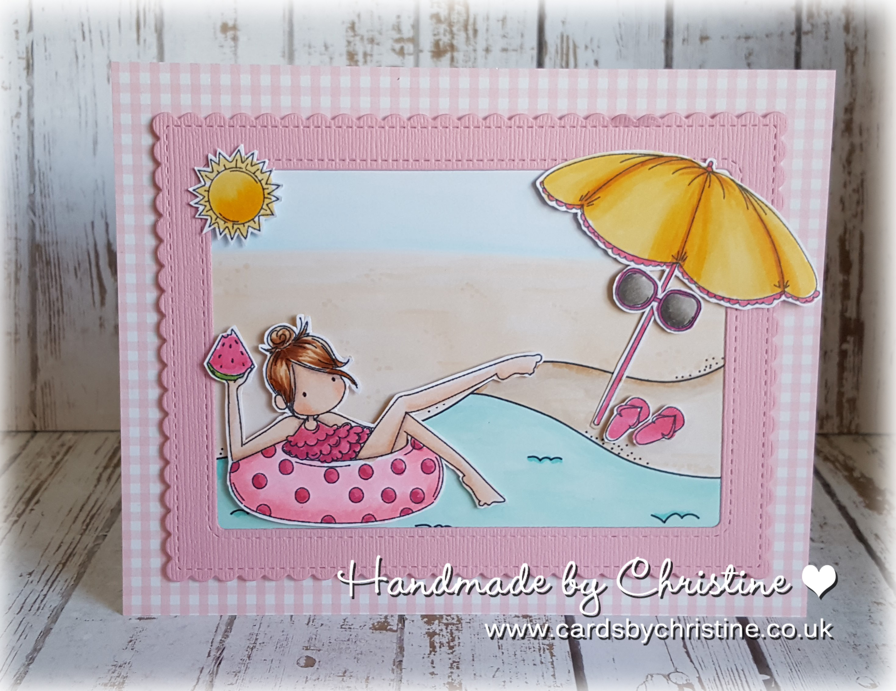 Stamping Bella SUMMER 2017 RELEASE- RUBBER STAMP : TINY TOWNIE FRANCES LOVES TO FLOAT. Card by Christine Levison