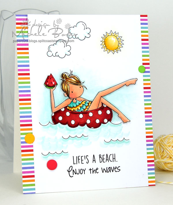 Stamping Bella SUMMER 2017 RELEASE- RUBBER STAMP : TINY TOWNIE FRANCES LOVES TO FLOAT. Card by Michele Boyer