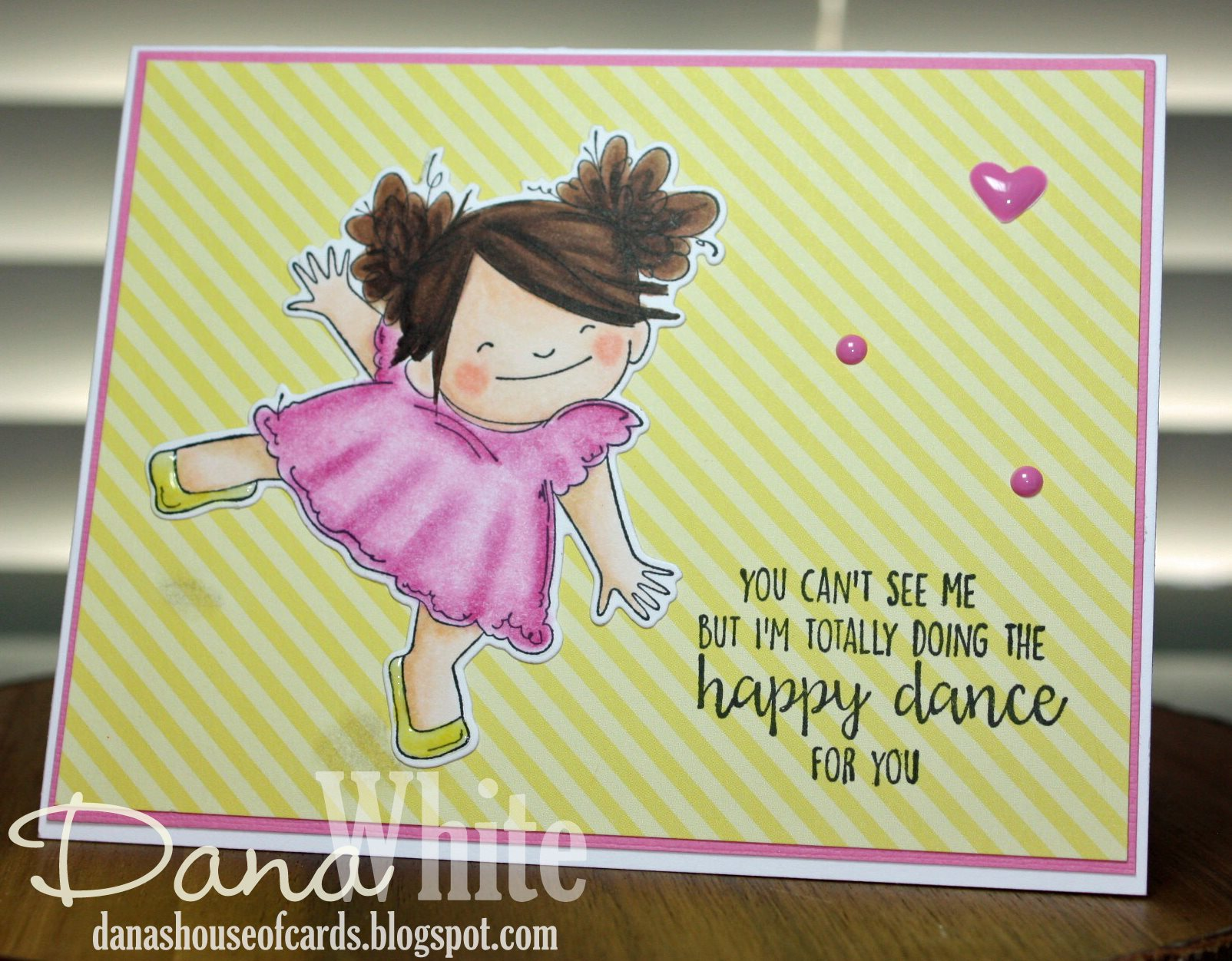 Bellarific Friday June 23 2017- Rubber stamp: Happy dance SQUIDGY  Card by Dana White