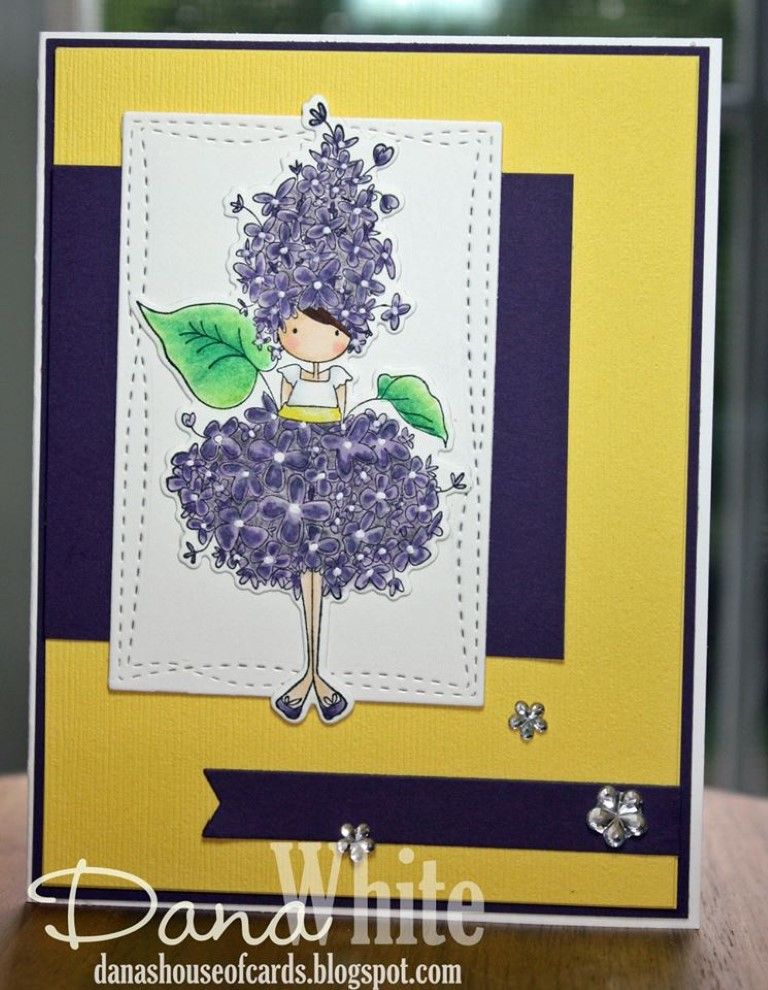 bellarific friday with Stamping Bella- rubber stamp used: TINY TOWNIE GARDEN GIRL LILAC, card made by Dana White