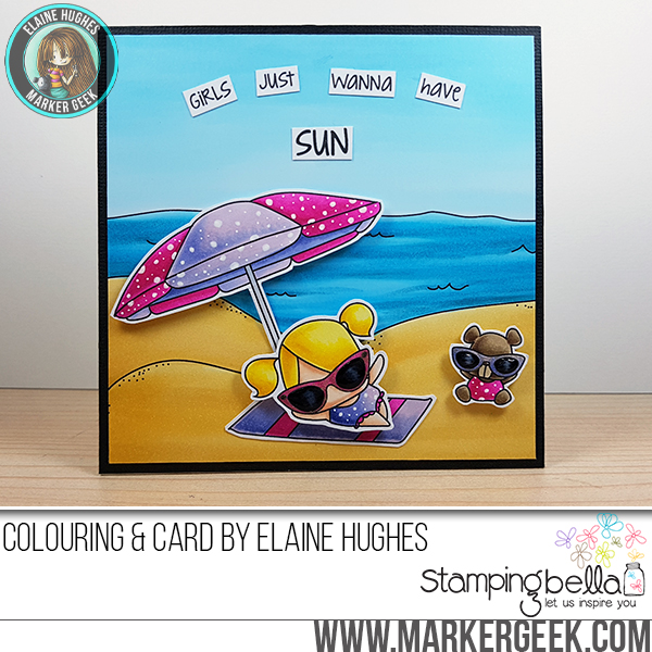 Stamping Bellar RELEASE PREVIEW SUMMER 2017- RUBBER STAMPS- THE LITTLES UMBRELLA SET. Card by ELAINE HUGHES