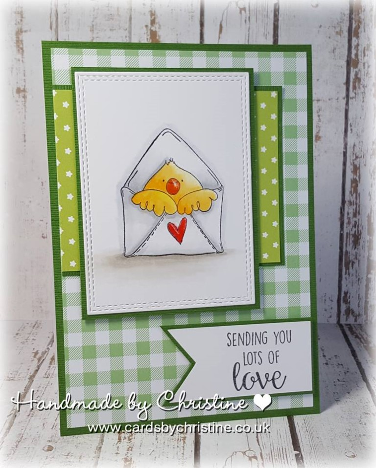 bellarific friday with Stamping Bella- rubber stamp used: MAIL CHICK, card made by Christine Levison