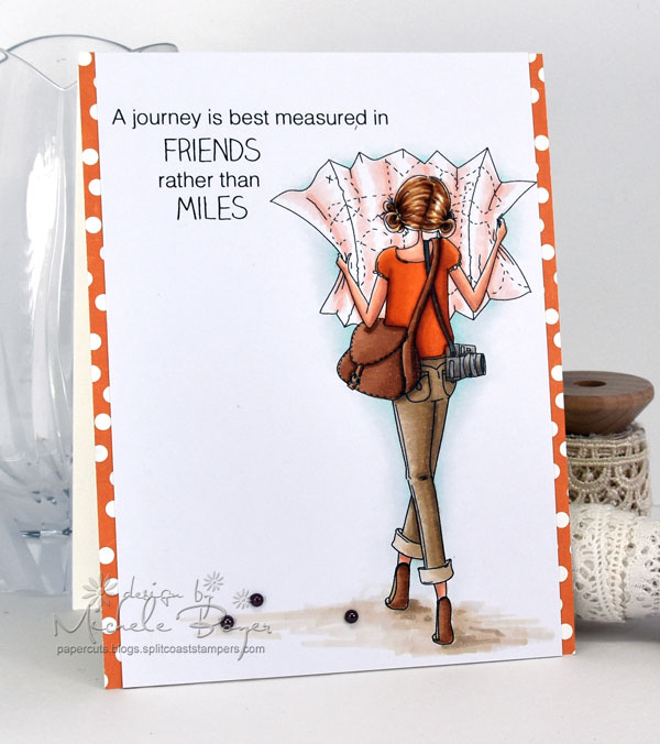 Stamping Bella SUMMER 2017 RELEASE- RUBBER STAMP : UPTOWN GIRL MELINDA has a MAP card by Michele Boyer
