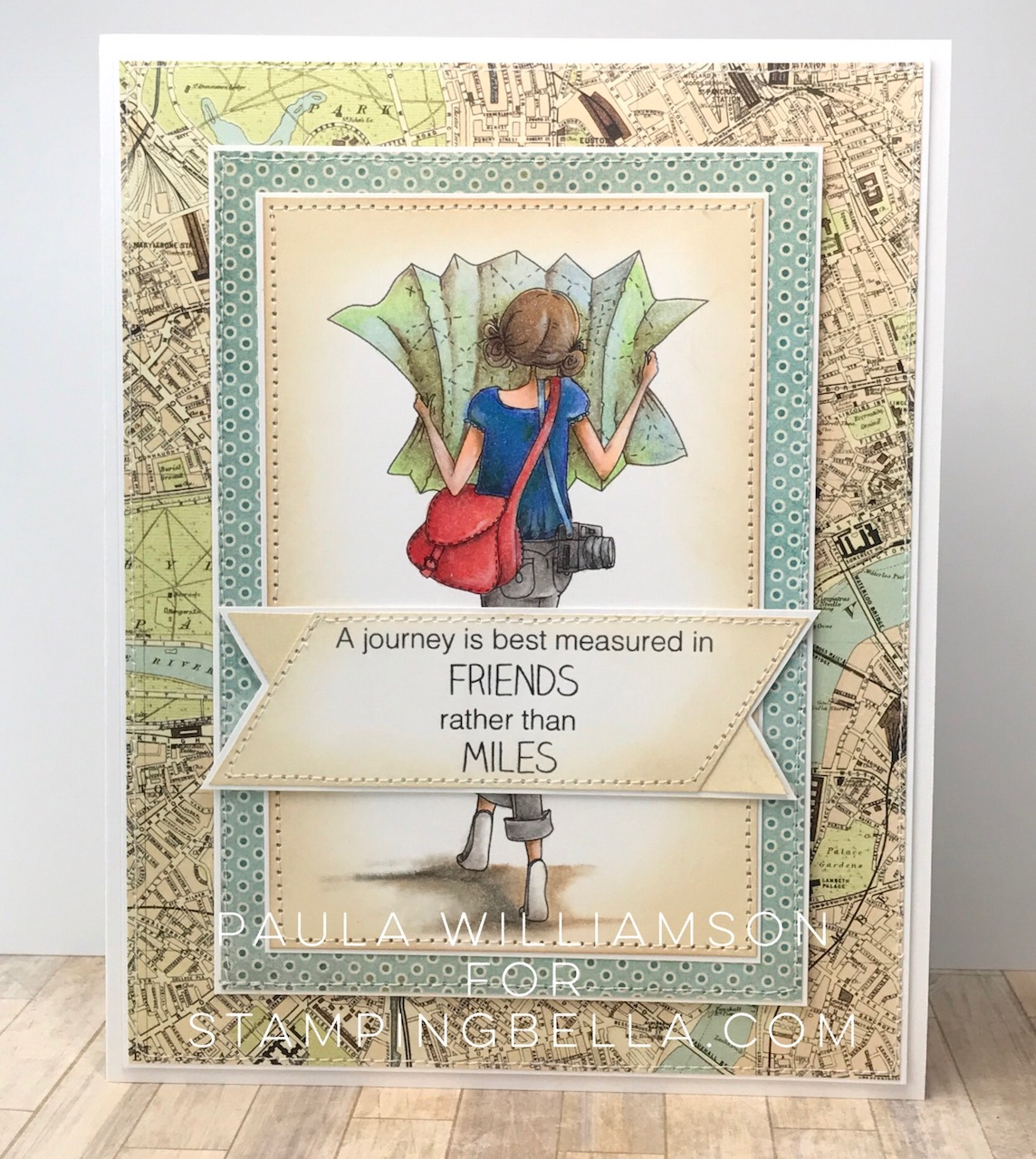 Stamping Bella SUMMER 2017 RELEASE- RUBBER STAMP : UPTOWN GIRL MELINDA has a MAP card by Paula Williamson