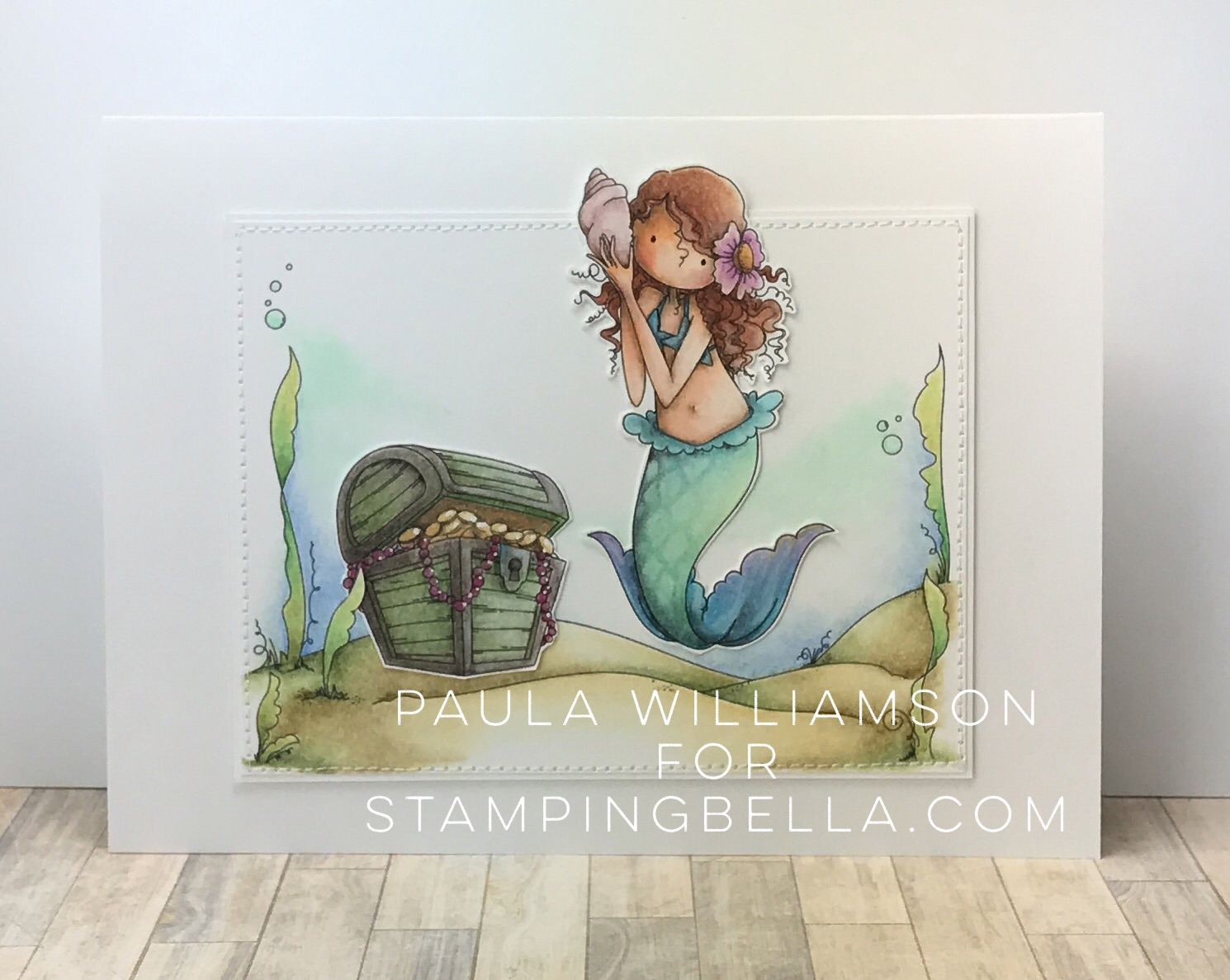 Stamping Bella SUMMER 2017 RELEASE- BEACH BACKDROP RUBBER STAMP, TINY TOWNIE MERMAID SET rubber stamps CARD BY PAULA WILLIAMSON