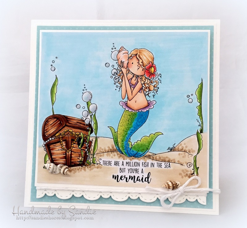 Stamping Bella SUMMER 2017 RELEASE- BEACH BACKDROP RUBBER STAMP, TINY TOWNIE MERMAID SET , and under the sea SENTIMENTS rubber stamps CARD BY Sandie Dunne