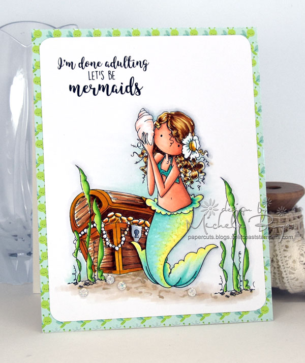 Stamping Bella SUMMER 2017 RELEASE- BEACH BACKDROP RUBBER STAMP, TINY TOWNIE MERMAID SET , and under the sea SENTIMENTS rubber stamps CARD BY Michele Boyer