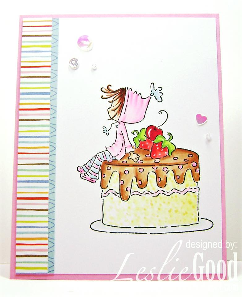 Bellarific Friday June 23 2017- Rubber stamp: Ramona Loves CAKE.  Card by Leslie Good