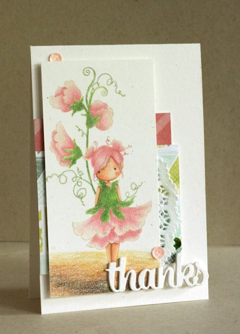 bellarific friday with Stamping Bella- rubber stamp used: TINY TOWNIE GARDEN GIRL SWEETPEA, card made by Alice Wertz