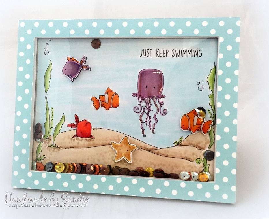 Stamping Bella SUMMER 2017 RELEASE- UNDER THE SEA BACKDROP RUBBER STAMP , Under the sea CREATURES and under the sea SENTIMENTS rubber stamps CARD BY Sandie Dunne