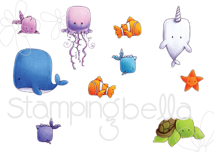 Stamping Bella SUMMER 2017 RELEASE- UNDER THE SEA CREATURES RUBBER STAMP
