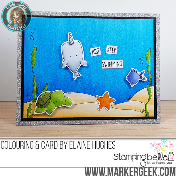 Stamping Bella SUMMER 2017 RELEASE- UNDER THE SEA BACKDROP RUBBER STAMP, Under the SEA creatures , and under the sea SENTIMENTS rubber stamps CARD BY Elaine Hughes