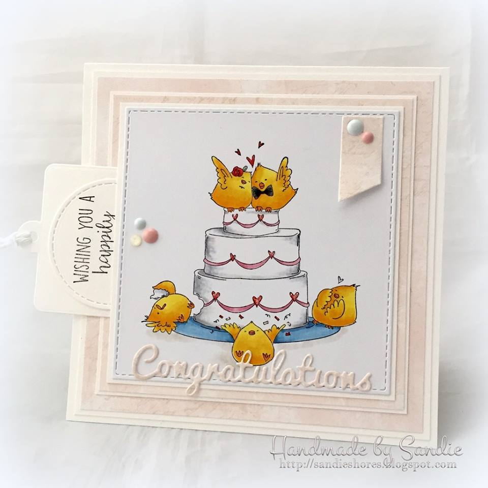 Bellarific Friday June 23 2017- Rubber stamp: Wedding Cake Chicks.  Card by Sandie Dunne