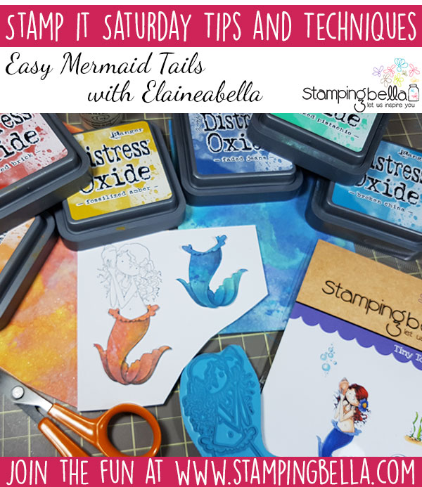 Stamping Bella Stamp It Saturday - Distress Oxide Mermaid Tails plus Copic Colouring Video