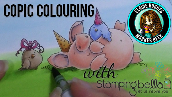Stamping Bella - Marker Geek Monday - Colouring Petunia has a Party (card and video)