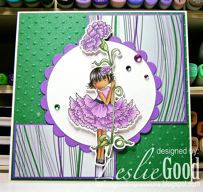 "Bellarific Friday July 14th 2017- rubber stamp and cut it out die ""TINY TOWNIE GARDEN GIRL CARNATION"" card by Leslie Good"