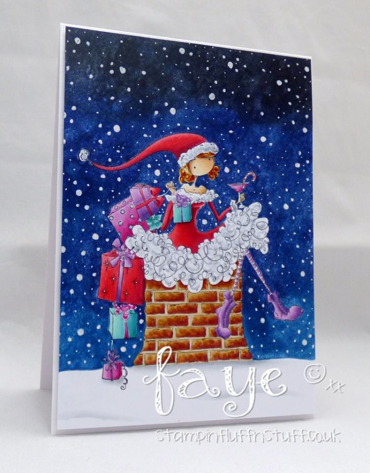 Bellarific Friday July 21st 2017- rubber stamp used on card: UPTOWN GIRL CHARLIE sits by the CHIMNEY , created by FAYE WYNN JONES