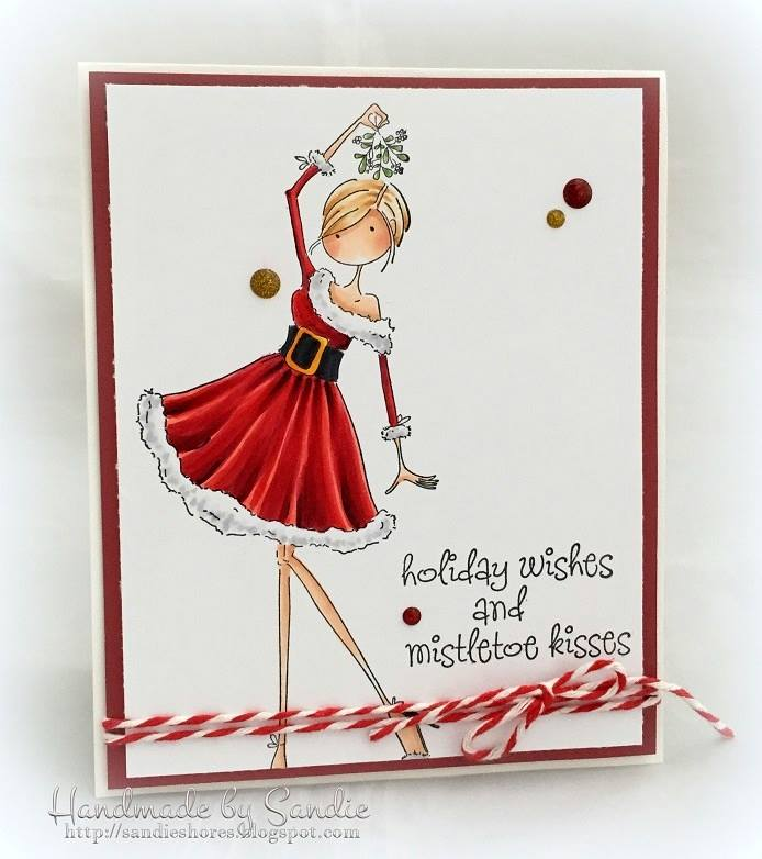 Bellarific Friday July 21st 2017- rubber stamp used on card: UPTOWN GIRL EVE UNDER THE MISTLETOE , created by SANDIE Dunne