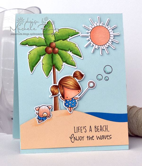 Bellarific Friday Challenge with Stamping Bella- Rubber stamps used: the LITTLES Ice cream and LEMONADE set, and the LITTLES PALM TREE set Card made by Michele Boyer