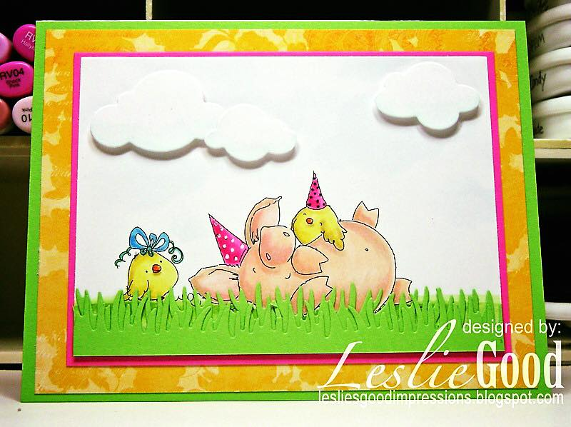 Bellarific Friday with stamping bella. Stamp usedL PETUNIA HAS A PARTY. Card by Leslie Good