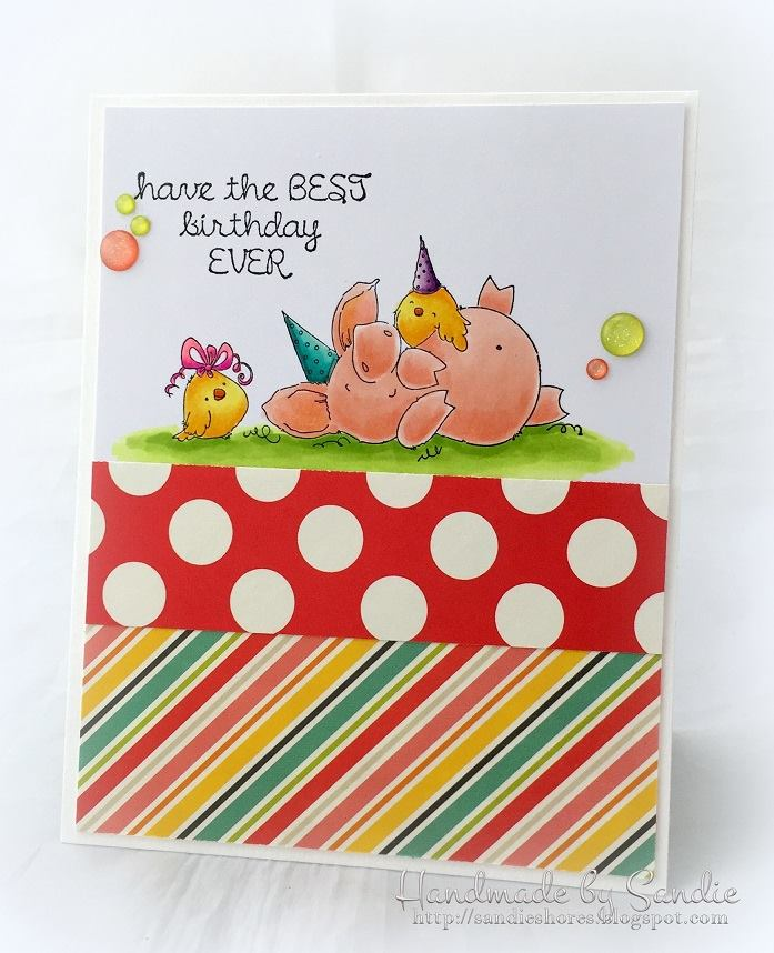 Bellarific Friday with stamping bella. Stamp usedL PETUNIA HAS A PARTY. Card by Sandie Dunne