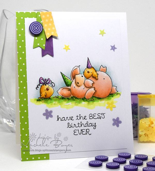 Bellarific Friday with stamping bella. Stamp usedL PETUNIA HAS A PARTY. Card by Michele Boyer