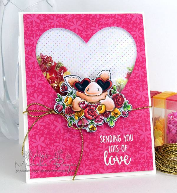 Bellarific Friday with Stamping Bella- rubber stamp used: Petunia's IN LOVE card made by Michele Boyer
