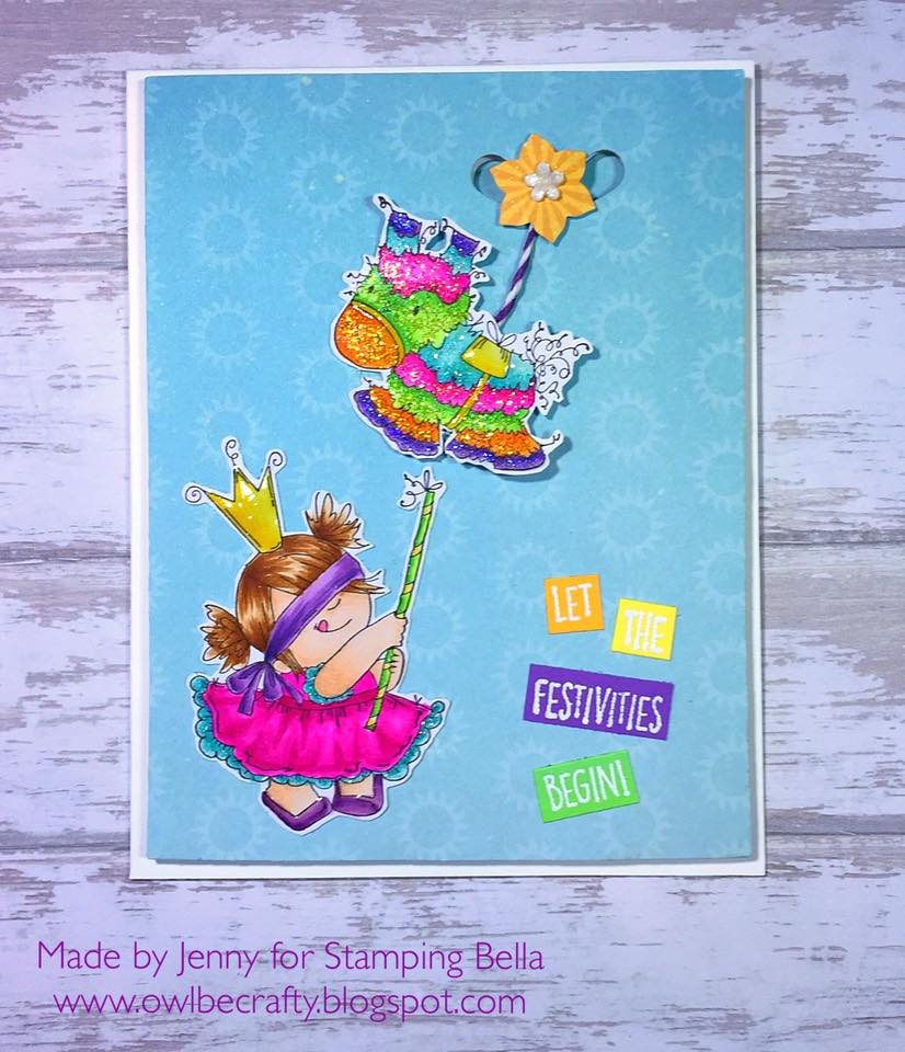 Bellarific Friday with Stamping Bella- rubber stamp used: PINATA SQUIDGY card made by Jenny Bordeaux