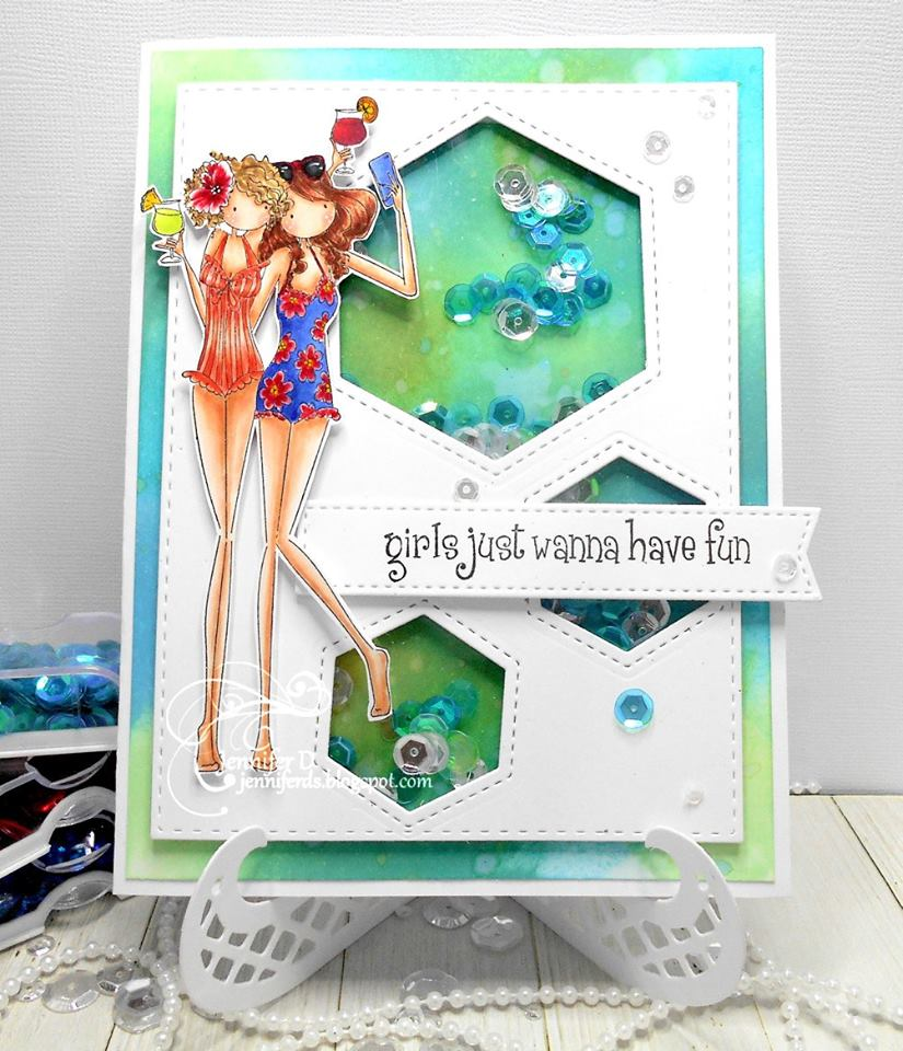 Bellarific Friday Challenge with Stamping Bella- Rubber stamps used: Uptown girls Samantha and Sierra take a SELFIE Card made by Jenny Dix
