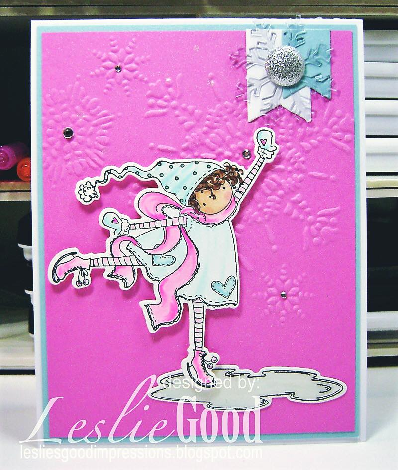 Bellarific Friday July 21st 2017- rubber stamp used on card:TINY TOWNIE SKYLAR loves to SKATE , created by LESLIE GOOD