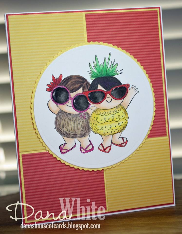 Bellarific Friday Challenge with Stamping Bella- Rubber stamps used: TROPICAL SQUIDGIES. Card made by  DANA WHITE