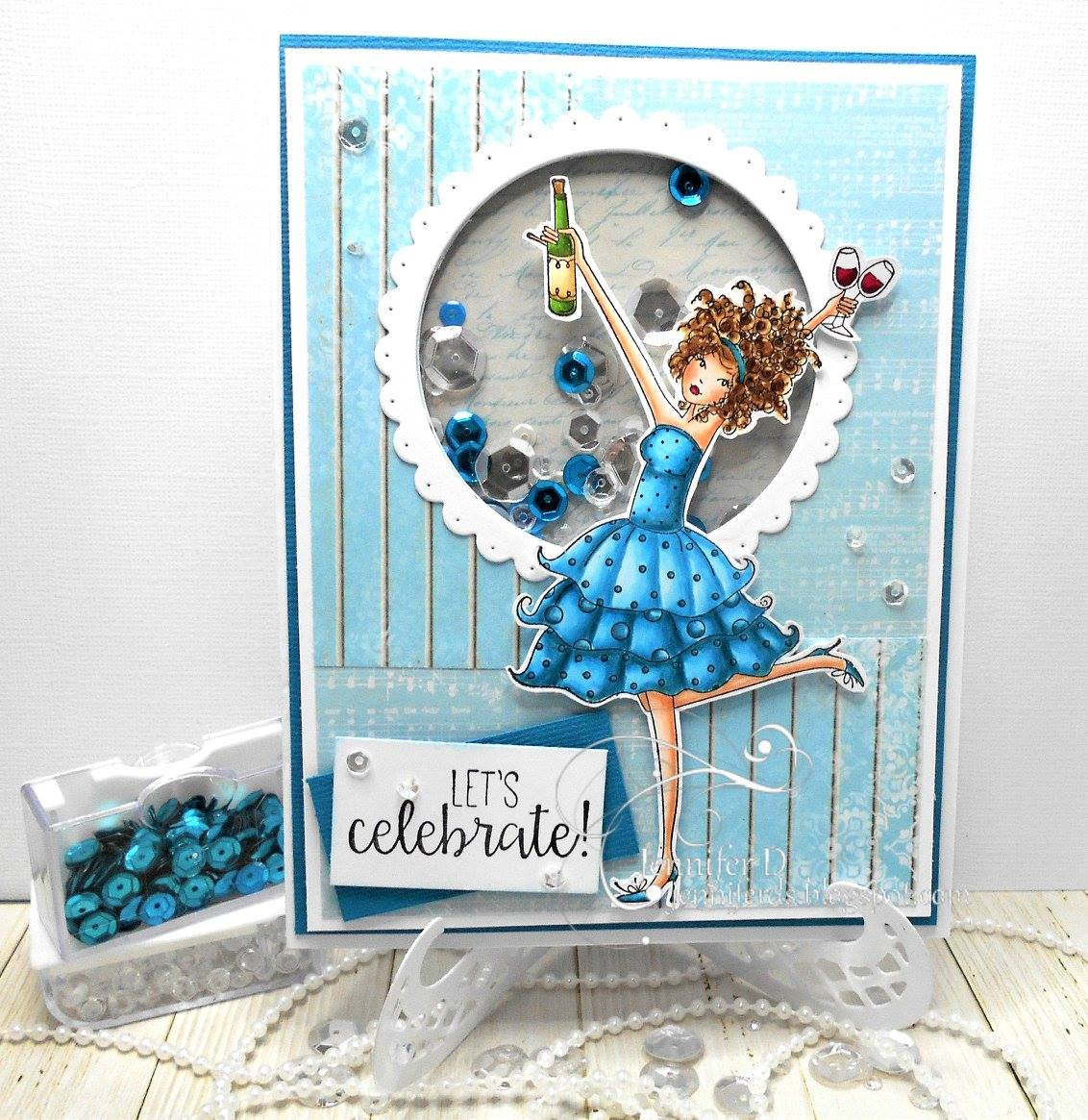 "Bellarific Friday July 14th 2017- rubber stamp and cut it out die ""WINOBELLA"" card by Jenny Dix"