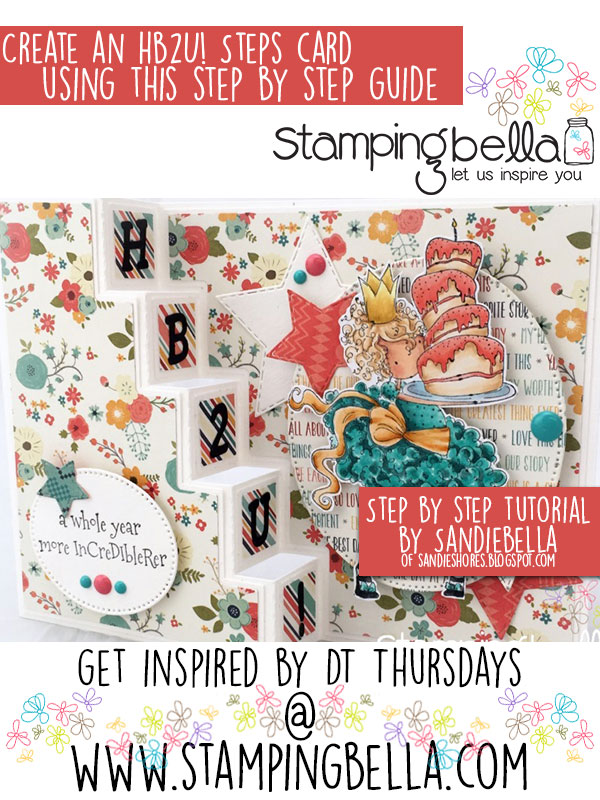 Stamping Bella DT Thursday: Create a Fun Birthday Steps Card with Sandiebella