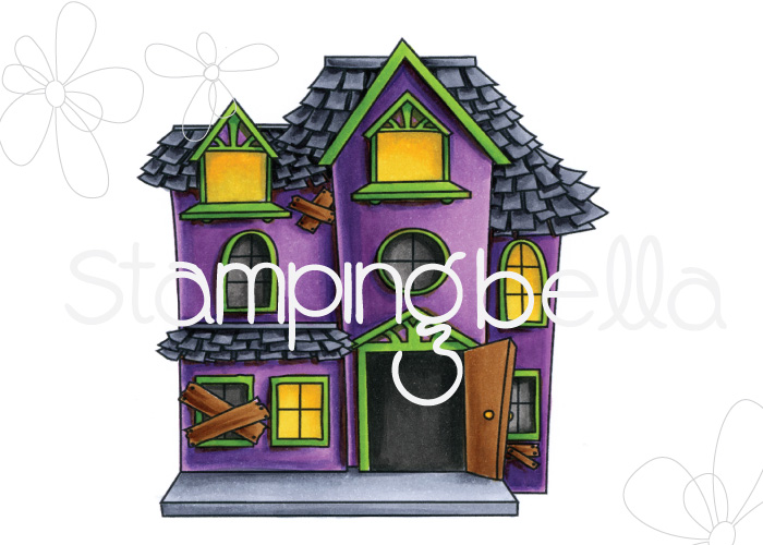 STAMPING BELLA SNEAK PEEK DAY 3- LITTLE BITS HAUNTED HOUSE RUBBER STAMP