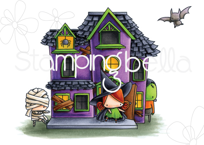 STAMPING BELLA SNEAK PEEK DAY 3- LITTLES HAUNTED HOUSE FULL SCENE RUBBER STAMP