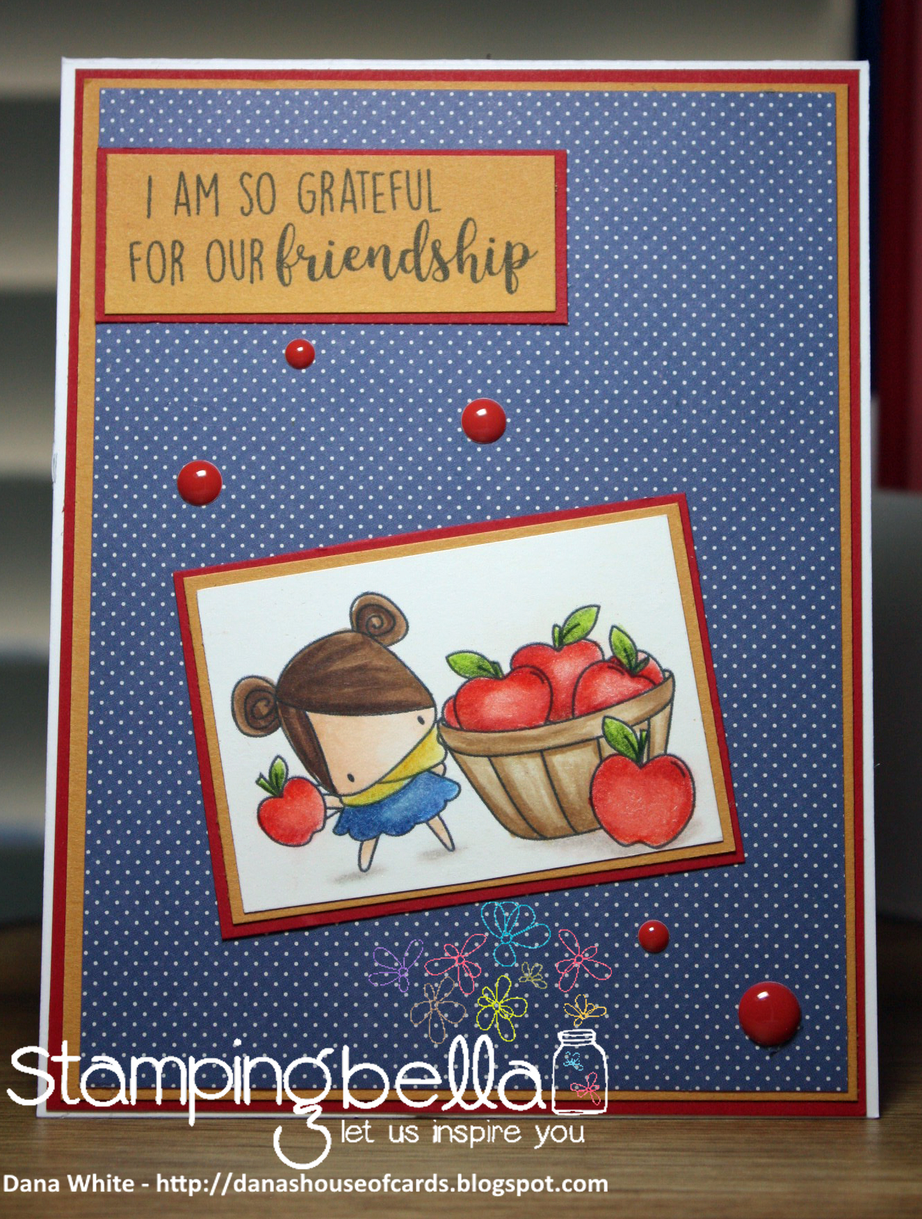 Stamping Bella SNEAK PEEK DAY 1- STAMPS USED: FALL SENTIMENT SET, THE LITTLES-APPLE PICKING image.. Card by Dana White