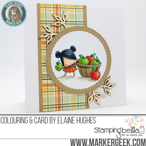 Stamping Bella SNEAK PEEK DAY 1- STAMPS USED:THE LITTLES-APPLE PICKING. Card by ELAINE HUGHES