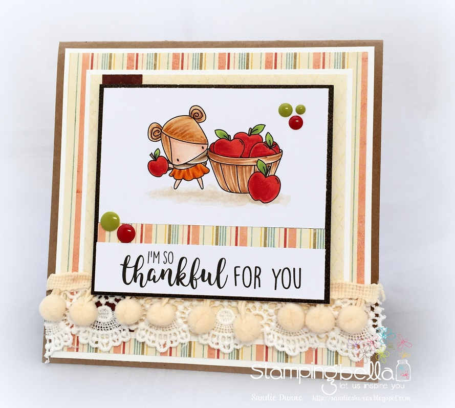 Stamping Bella SNEAK PEEK DAY 1- STAMPS USED: FALL SENTIMENT SET and THE LITTLES APPLE PICKING. Card by Sandie Dunne