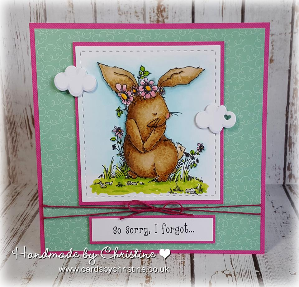 Bellarific Friday with Stamping Bella- Stamp used: Bedelia the bunny.  Card by Christine Levison