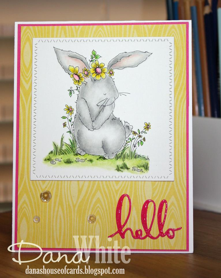 Bellarific Friday with Stamping Bella- Stamp used: Bedelia the bunny.  Card by Dana White