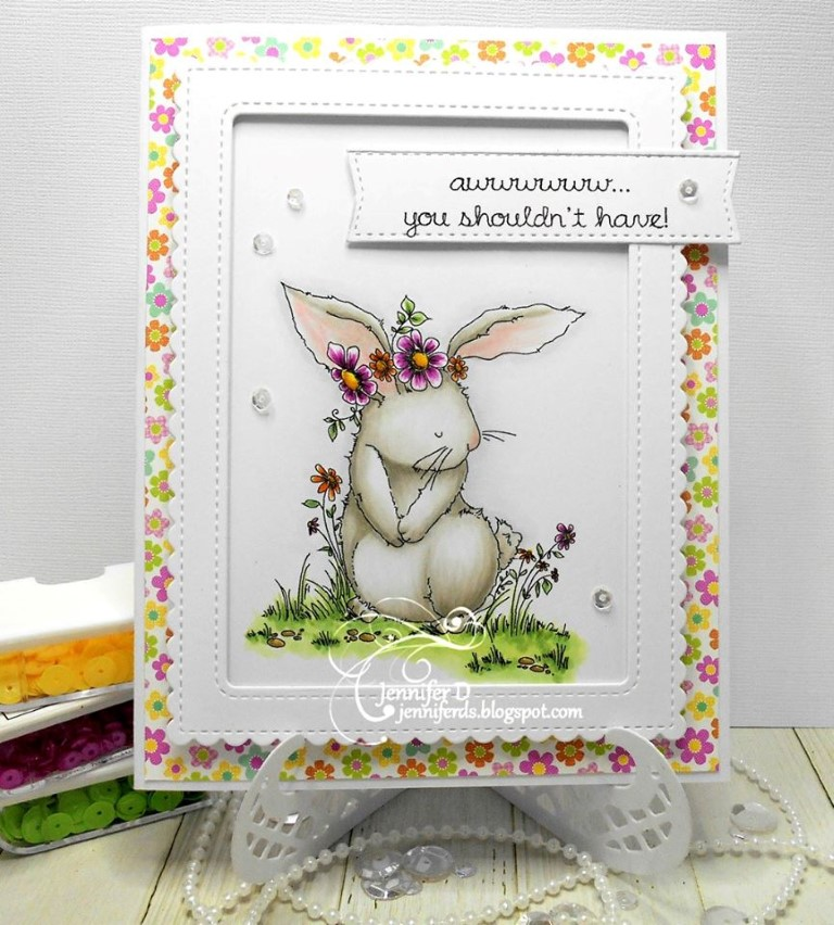 Bellarific Friday with Stamping Bella- Stamp used: Bedelia the bunny.  Card by Jenny Dix