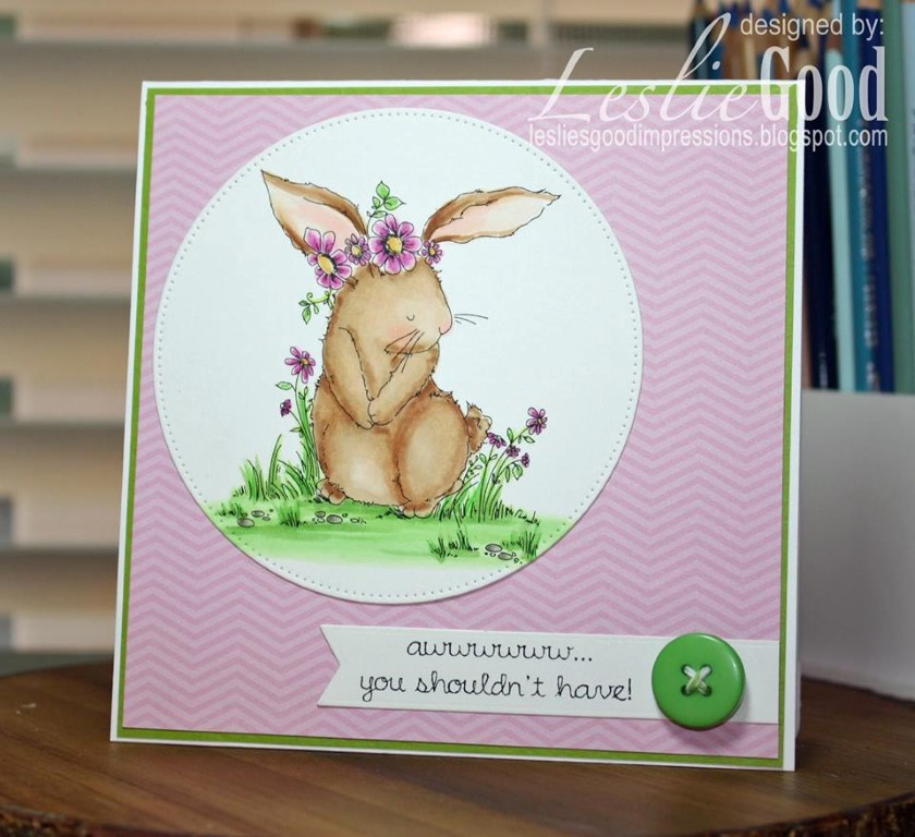 Bellarific Friday with Stamping Bella- Stamp used: Bedelia the bunny.  Card by Leslie Good