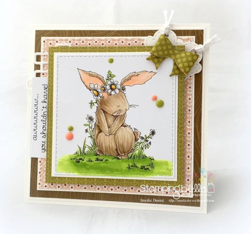 Bellarific Friday with Stamping Bella- Stamp used: Bedelia the bunny.  Card by Sandie Dunne