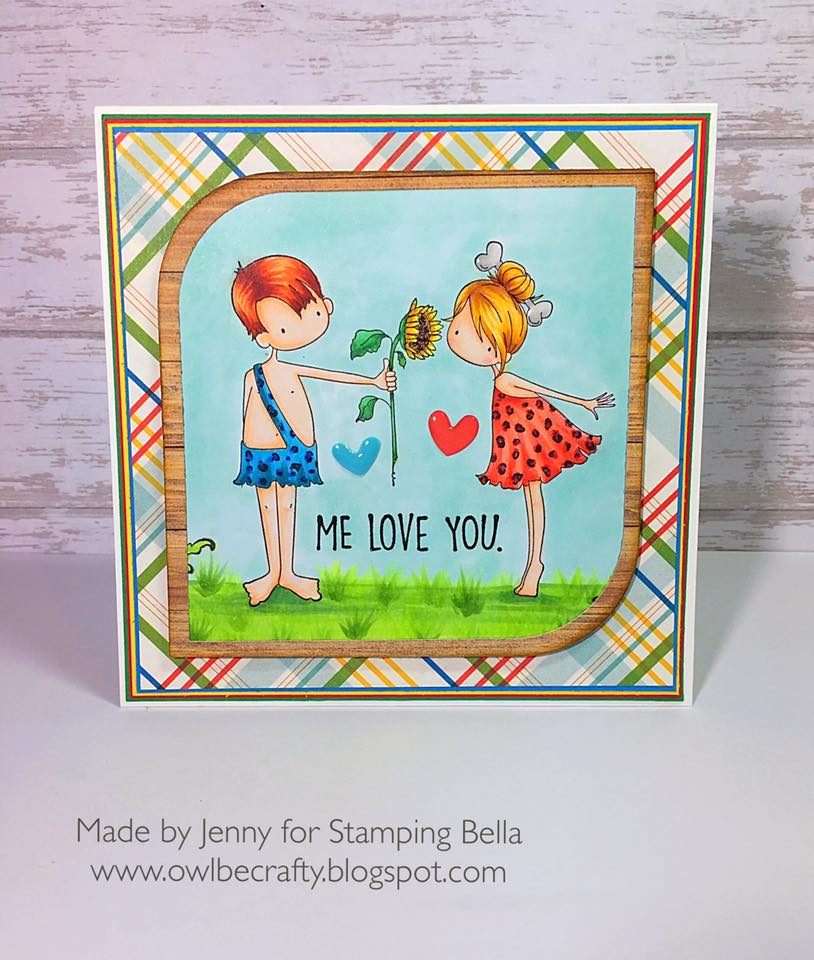 bellarific friday with Stamping Bella AUG 18 2017- rubber stamp used: CAVE COUPLE, card by JENNY BORDEAUX