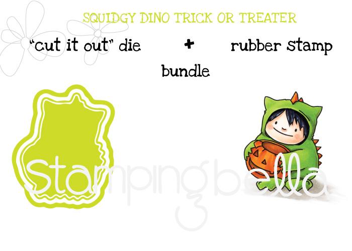 Stamping Bella SNEAK PEEK day 4- SQUIDGY DINO TRICK OR TREATER BUNDLE