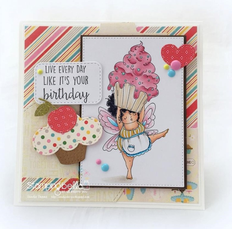 Bellarific Friday with Stamping Bella- rubber stamp used:  MEET EDNA, card made by SANDIE DUNNE