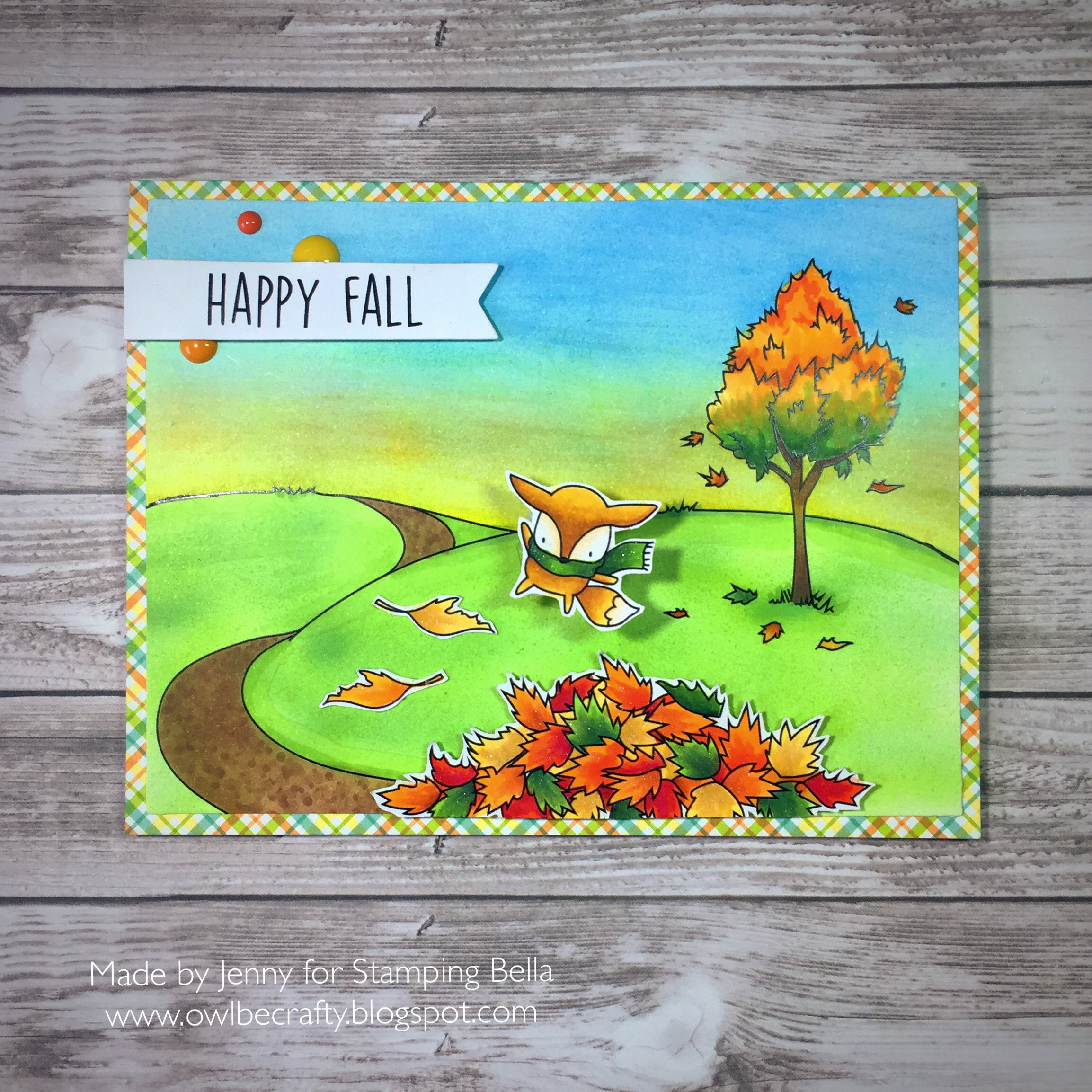 Stamping Bella SNEAK PEEK DAY 2 : LITTLE BITS NATURE COLLECTION rubber stamp, FALL BACKDROP RUBBER STAMP, FALL SENTIMENTS rubber stamp. Card by JENNY BORDEAUX