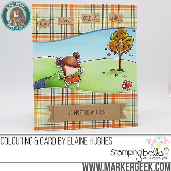 Stamping Bella SNEAK PEEK DAY 1- STAMPS USED: FALL BACKDROP, AND LITTLE BITS FALL FRUIT. Card by ELAINE HUGHES