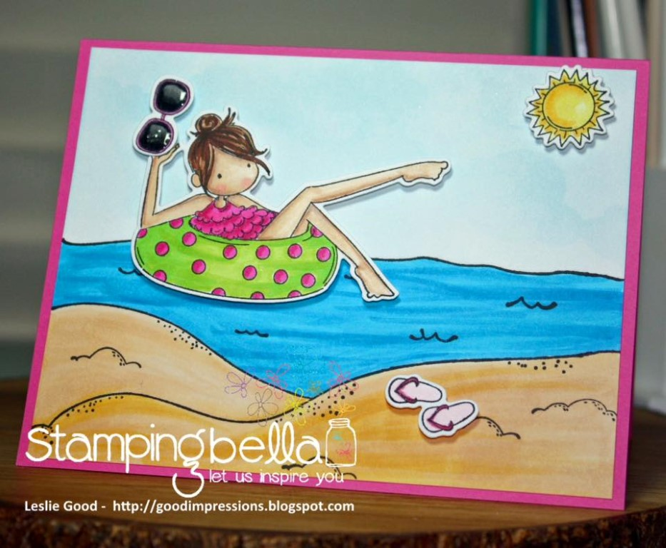 bellarific friday with Stamping Bella AUG 18 2017- rubber stamp used: tiny townie FRANCES loves to FLOAT and BEACH BACKDROP, card by LESLIE GOOD